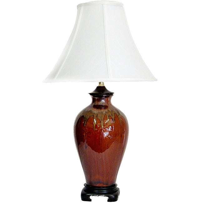 Transitional Brown Drip Earth Toned Table Lamp