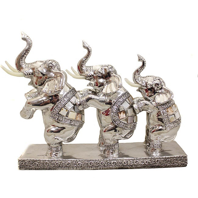 Standing Elephant Trio Collectible Statue Figurine