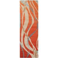 Hand-tufted Orange Contemporary Maputo New Zealand Wool Abstract Rug (2'6 x 8')