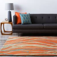 Hand-tufted Orange Contemporary Maputo New Zealand Wool Abstract Area Rug - 8' Round