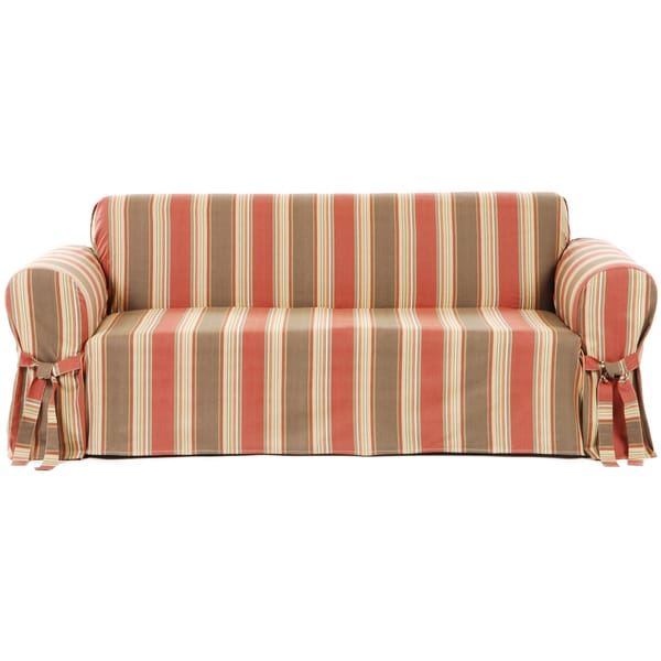 Classic Stripe Cotton Loveseat Slipcover