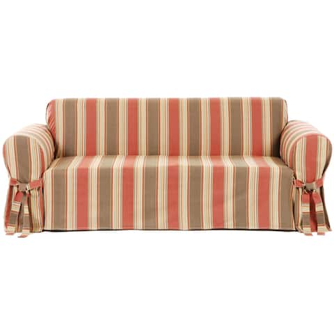Classic Slipcovers Classic Stripe Cotton Loveseat Slipcover