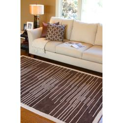 Hand-tufted Contemporary Brown Shebelle New Zealand Wool Abstract Rug (3'3 x 5'3)