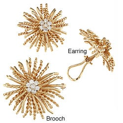 Pre-owned 18k Gold 1 1/2ct TDW Diamond Sunburst Estate Jewelry Set (I-J, SI1-SI2)