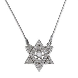 Sterling Silver Cubic Zirconia 'Star of David' Necklace