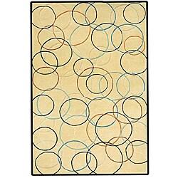 Gold Circle Hand Tufted Wool Rug - 5' x 8' - Thumbnail 0