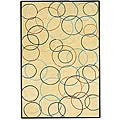 Gold Circle Hand Tufted Wool Rug - 5' x 8'