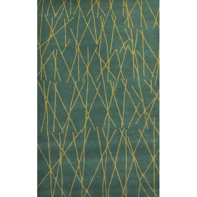 Green Channel Hand Tufted Wool Rug - 5' x 8'