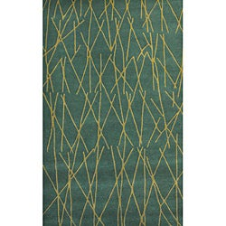 Green Channel Hand Tufted Wool Rug - 5' x 8' - Thumbnail 0