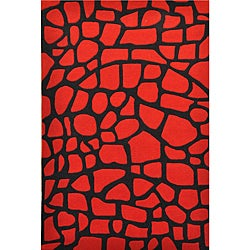 Red Rock Hand Tufted Wool Rug (8' x 11') - 8' x 11' - Thumbnail 0