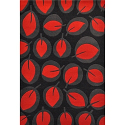 Red Leave Hand Tufted Wool Rug - 5' x 8' - Thumbnail 0
