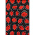 Red Leave Hand Tufted Wool Rug - 5' x 8'