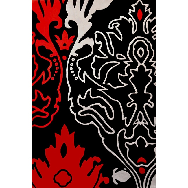 Feather Red Hand Tufted Wool Rug (8' x 11') - 8' x 11'