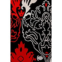 Feather Red Hand Tufted Wool Rug (5' x 8') - 5' x 8' - Thumbnail 0