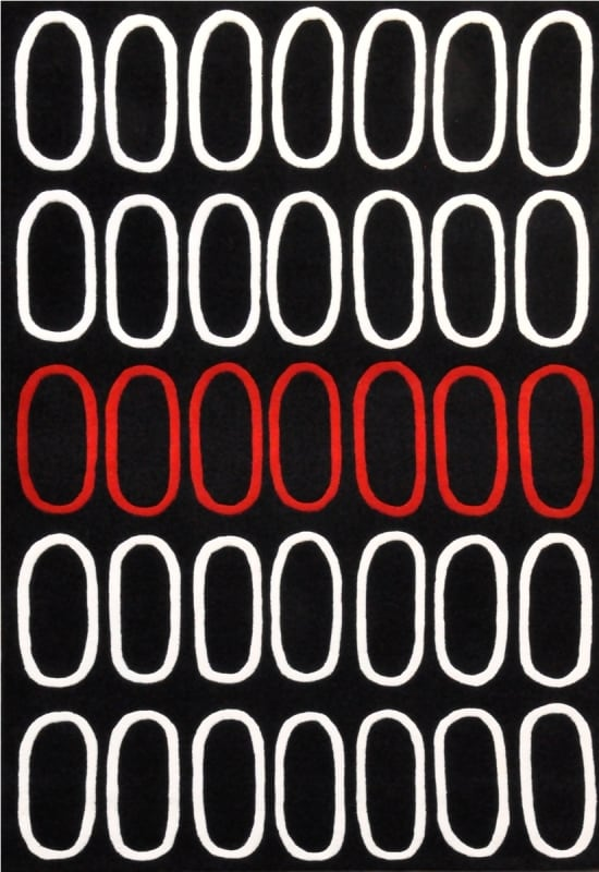 Circle Red Black Hand Tufted Wool Rug (5' x 8') - 5' x 8'
