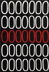 Circle Red Black Hand Tufted Wool Rug (5' x 8')