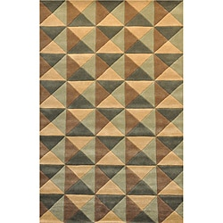 Indo Four Hand Tufted Wool Rug - 8' x 11' - Thumbnail 0