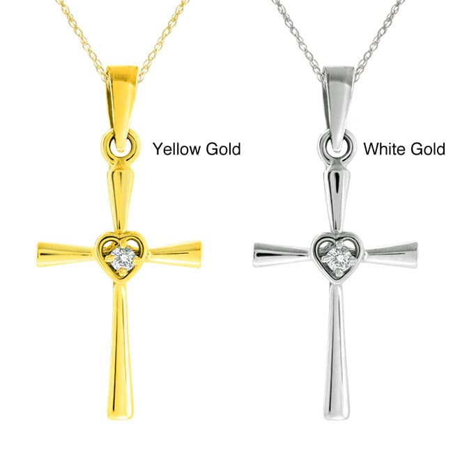 10k Gold Diamond Accent Heart Cross Necklace
