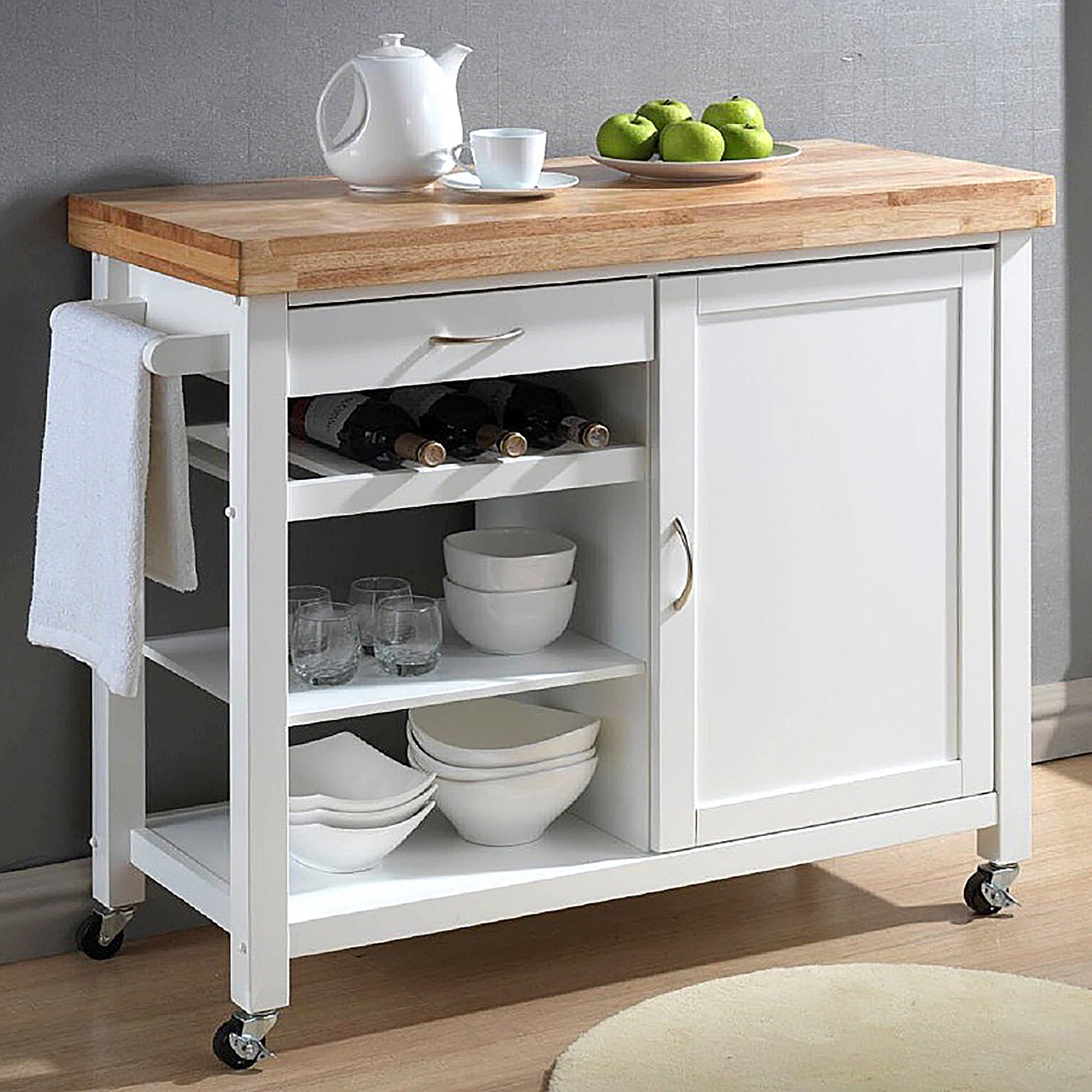 Shop Denver White Modern Kitchen Cart Overstock 20543359