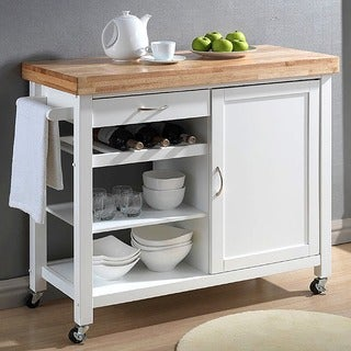 Denver White Modern Kitchen Cart - Thumbnail 0