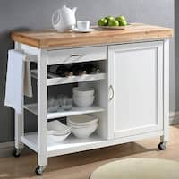 Havenside Home Nixonton White Modern Kitchen Cart