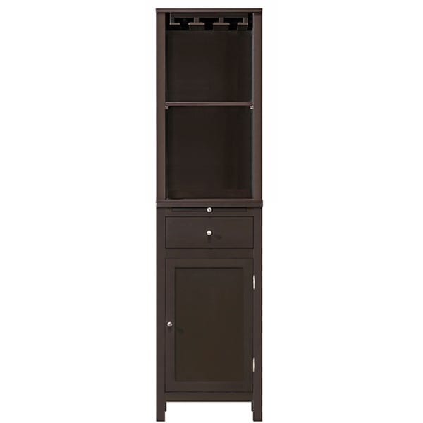 Kentucky Brown Modular Modern Hutch with Wine Glass Rack