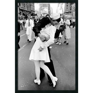 Framed Art Print Kissing on VJ Day - Times Square by Alfred Eisenstaedt 26 x 38-inch