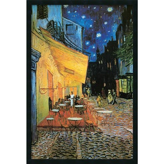Framed Art Print Cafe Terrace At Night, 1888 by Vincent van Gogh 26 x 38-inch