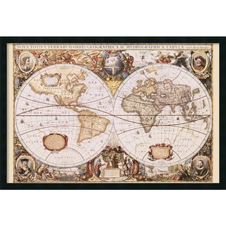 Henricus Hondius 'Map Of The World' Framed Art Print with Gel Coated Finish