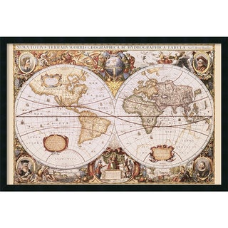 Framed Art Print Map Of The World by Henricus Hondius 38 x 26-inch