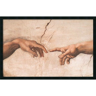 Michelangelo Buonarroti 'The Creation of Adam (Detail I)' Framed Art Print with Gel Coated Finish
