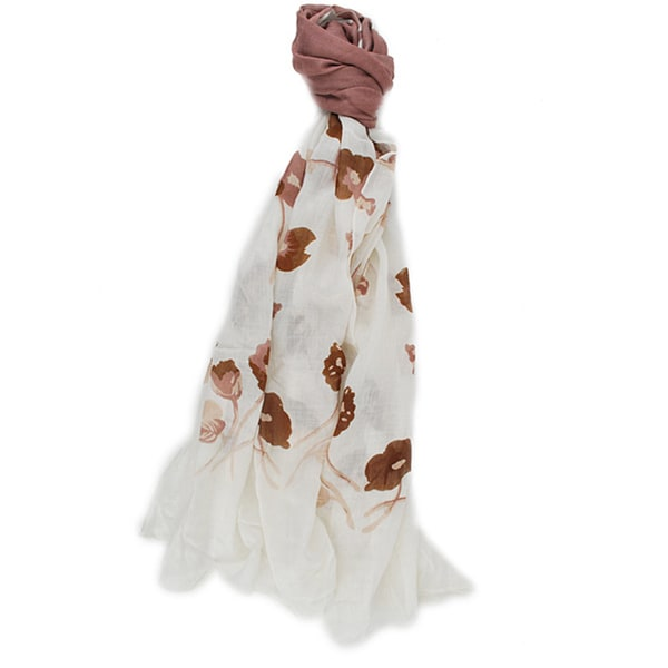 Handmade Women's Rose Bisque Floral Scarf (India)