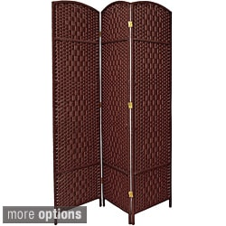 Handmade Seven-foot Diamond Weave Wood/Plant Fiber Room Divider (China)