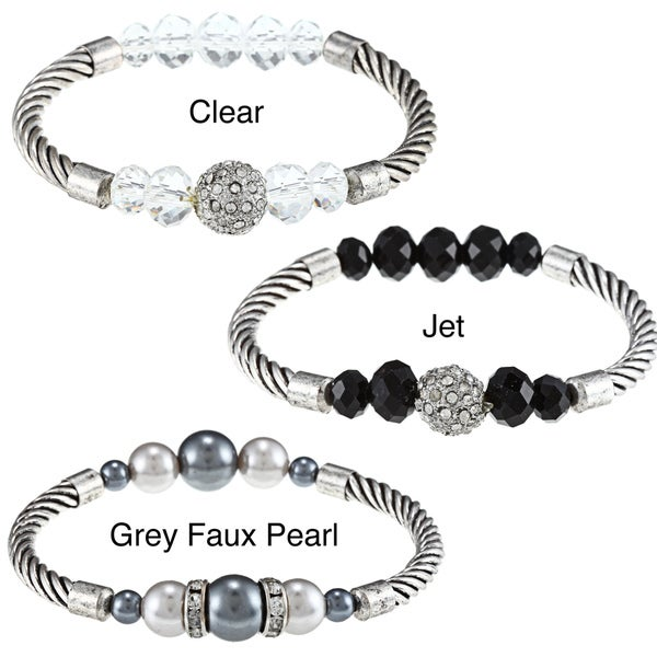 Roman Silvertone Crystal and Faux Pearl Twist Cable Stretch Bracelet