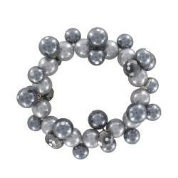 Roman Faux Black Pearl Tonal Faceted Bead Stretch Bracelet - Thumbnail 1