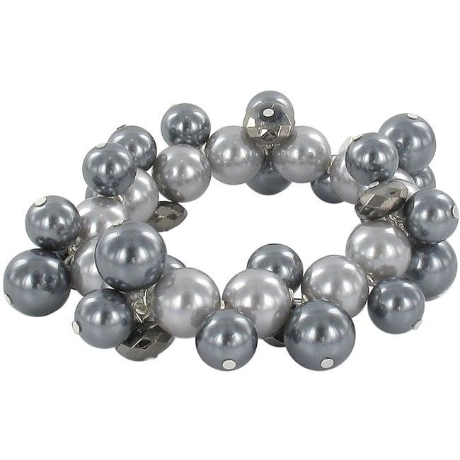 Roman Faux Black Pearl Tonal Faceted Bead Stretch Bracelet