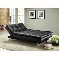 Furniture Of America Ler Comfortable Black Futon Sofa Bed