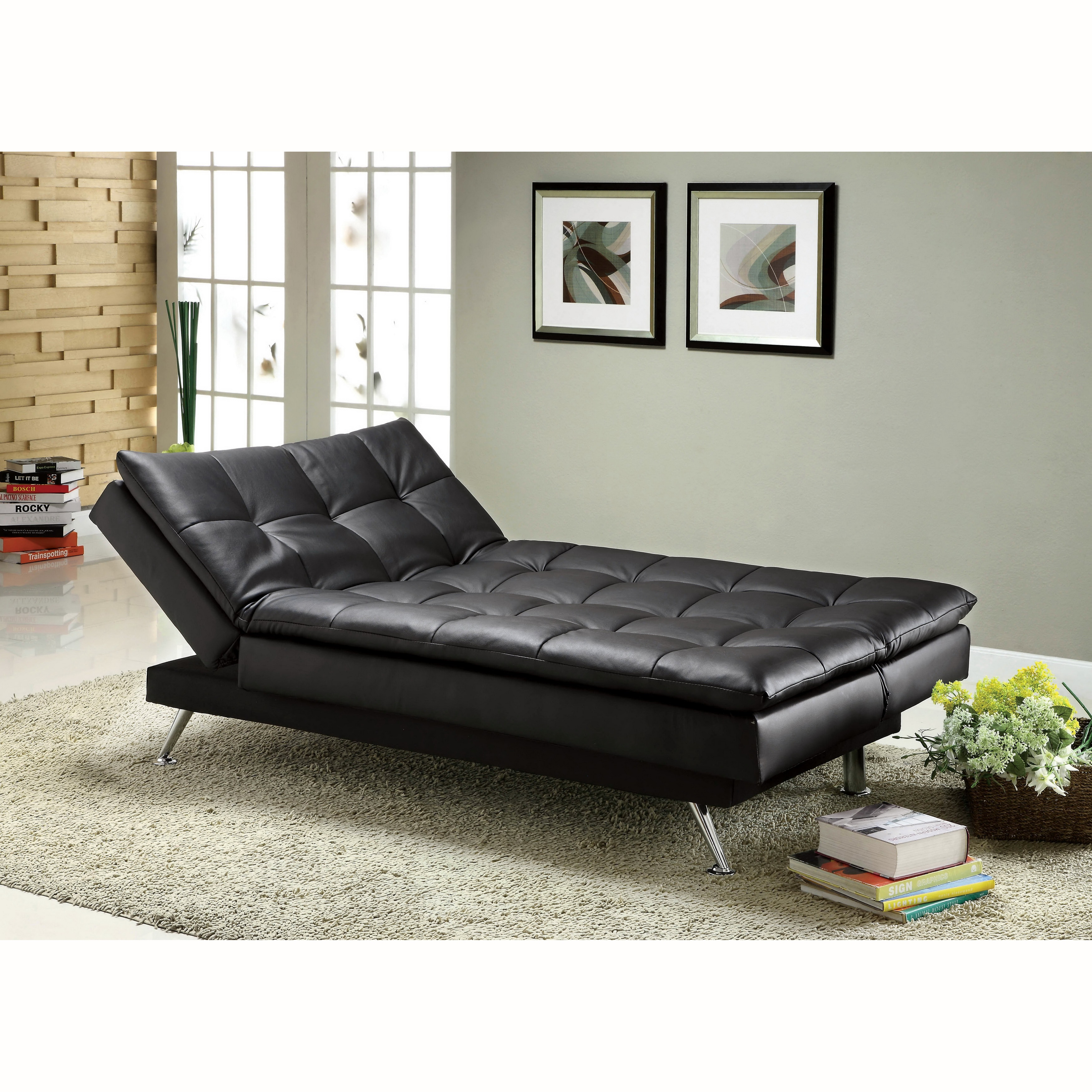 Furniture Of America Rit Contemporary Black Leatherette Futon Sofabed