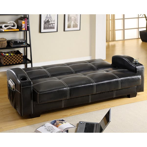 Modern Black Faux Leather Futon