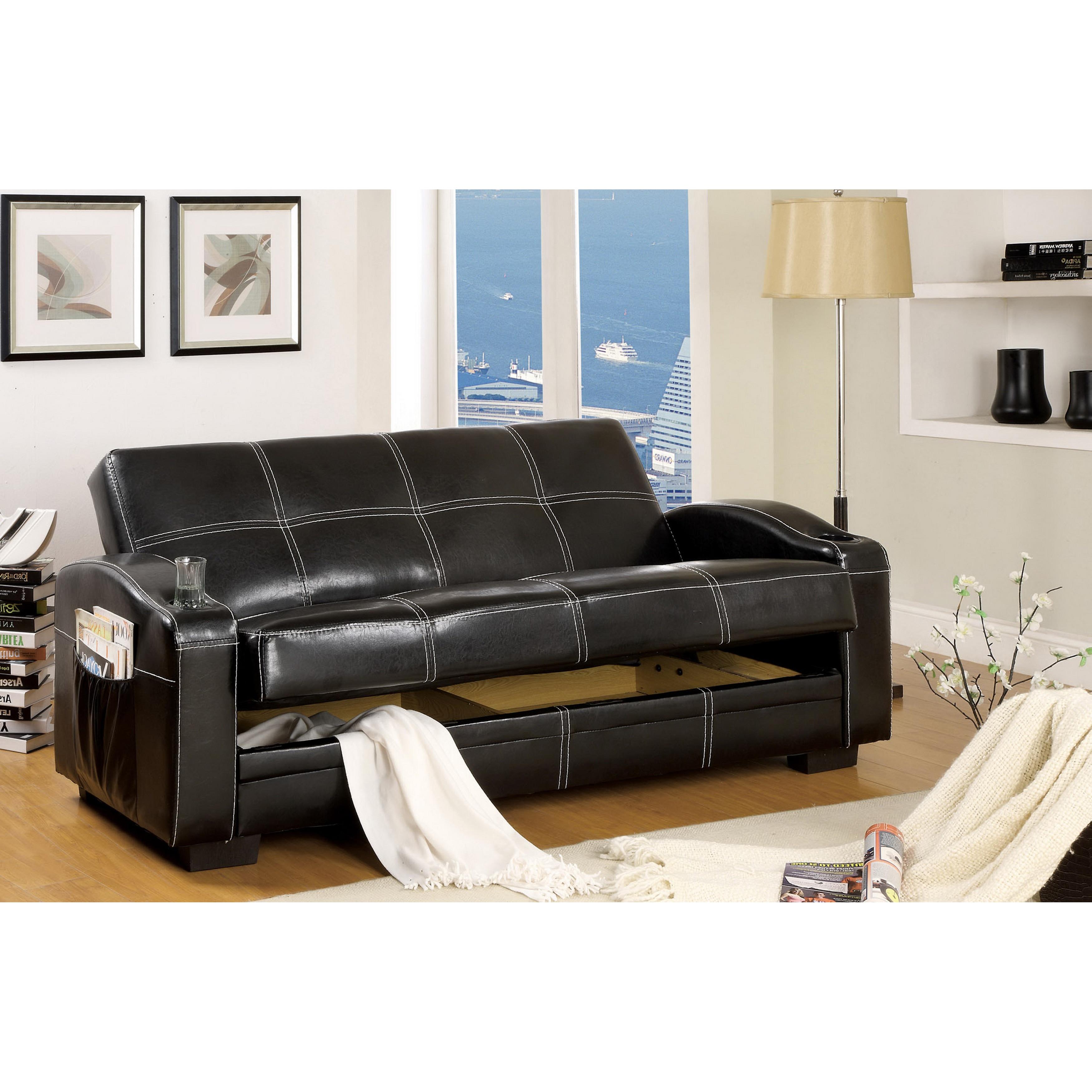 Modern Black Faux Leather Futon