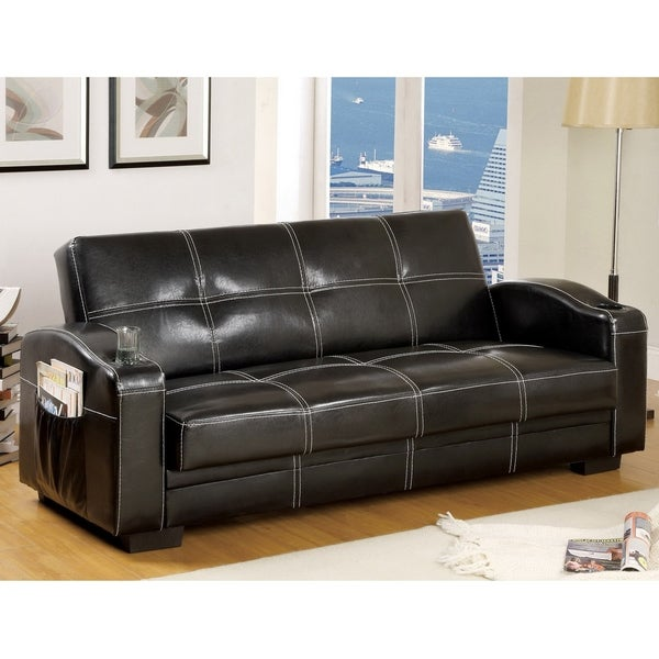 Max Modern Black Futon Sleeper Sofa with Storage and Cup Holder by FOA