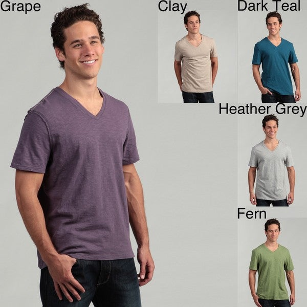 Nuco Men's V-neck Solid Slub Tee