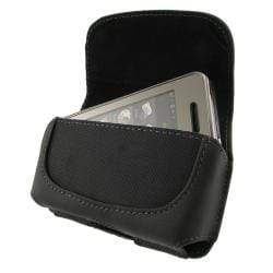 INSTEN Black Leather Phone Case Cover for Samsung Instict M800