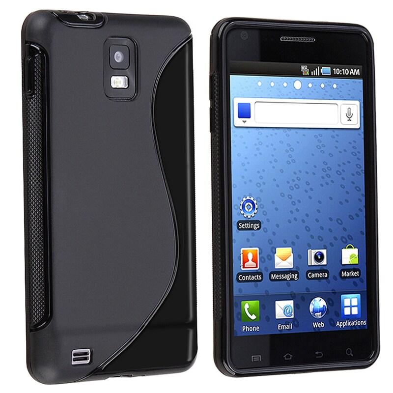 INSTEN Black S Shape TPU Rubber Skin Phone Case Cover for Samsung Infuse 4G i997