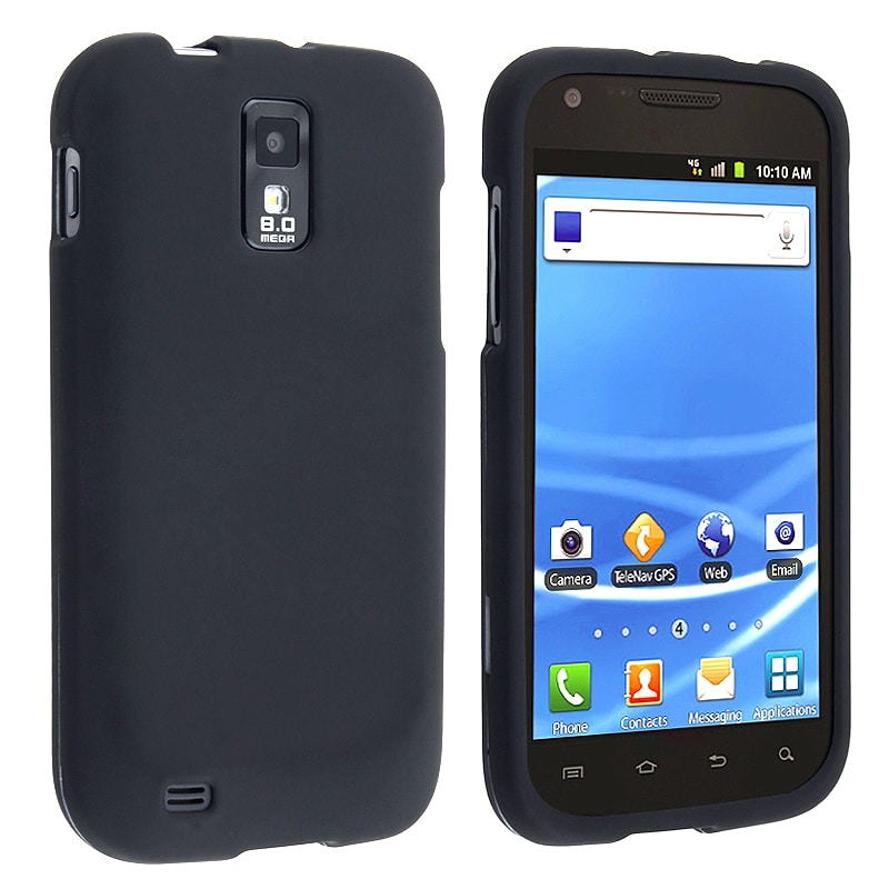 INSTEN Black Rubber Coated Phone Case Cover for Samsung Galaxy S II T-Mobile T989