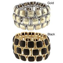 Celeste Goldtone Wood 3-row Stretch Bracelet
