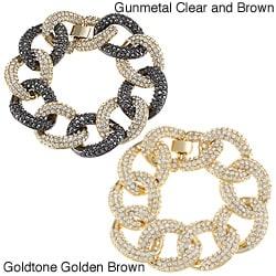 Celeste Gunmetal/Goldtone Crystal Large Link Bracelet