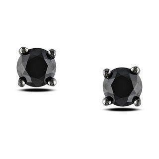 Miadora Black Rhodium over Silver 1ct TDW Black Diamond Stud Earrings