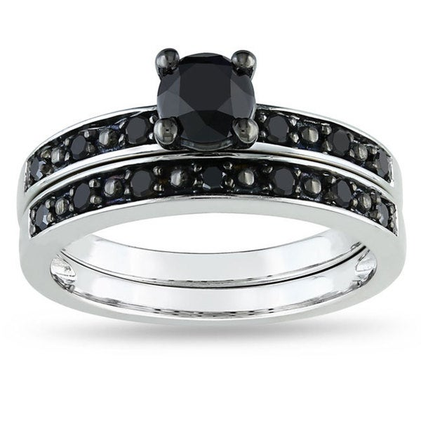 Miadora 10k White Gold 1ct TDW Black Diamond Bridal Ring Set