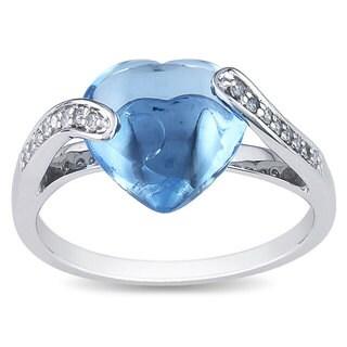 Miadora 10k White Gold 4-1/3ct Blue Topaz and 1/10ct Diamond Ring (H-I, I2-I3)